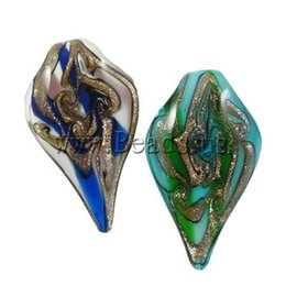 $enCountryForm.capitalKeyWord Australia - 12PC Lot High Quality cremation jewelry women Leaf mixed colorsHole:Approx 8mm Gold Sand Lampwork Pendants