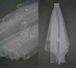 Elbow Length Australia - Wedding Veil Simple Beading Ivory 2 Layers 80 Meters Elbow Length Beads Edge White New Wedding Bridal Accessories Veils With Comb Elegant