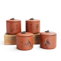 spice jar set kitchen UK - Trumpet Ceramic Tea Jar Purple Tea Can Puer Box Sealed Box Tea Warehouse Set pote de cozinha armazenamento Kitchen porcelain jar