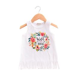 Girls cotton sundresses online shopping - Wild One Letters Florals dresses for baby girl Tassels Tank Beach dress Sundress Summer cotton T T T T