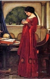 portrait size Australia - Lady In Red With Crystal Ball Art,Quality Handpainted  DH Print Famous Portraits Art Oil Painting On canvas,Multi sizes Frame Options P171!