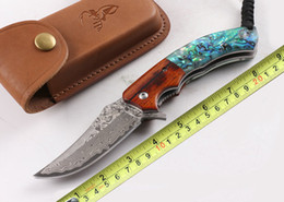 abalone knives 2019 - VG10 Damascus High END Folding Outdoor Knife Wood Natural Abalone Handle EDC Utility Tactical Survival Pocket Knives 4.7