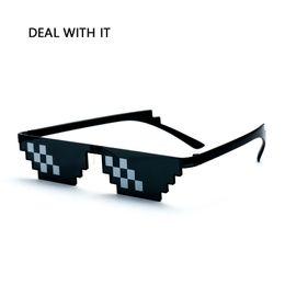 wholesale pixel sunglasses 2019 - DEAL WITH IT Sunglasses Men THUG LIFE Sun Glasses Women Plus Size Polygonal 8 Bits Style Pixel Mosaic Shades cheap whole