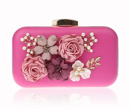 chinese handbags fashion UK - 2018 Hot Pink Women's Evening Bag PU Handbag Clutch Bag Flowers Bride Party NEW fashion Beaded Lady Shoulder Bag Chinese