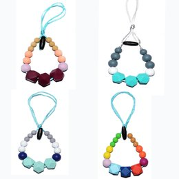Silicone Teething Pendant Wholesalers Australia - Silicone Teething Necklace Safe for Baby Chew Geo Hexagon Beads Pendant Necklace BPA Free Food Silicone Nuby Teething Necklace Sensory Chew