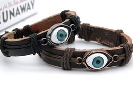 $enCountryForm.capitalKeyWord Australia - Best Selling Vintage Genuine leather ID bracelets DIY Evil Eye Stylish Punk Handmade Leather Wristband Bracelet For Men Women Xmas gifts