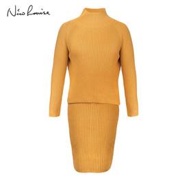 63e813a84 Vestido amarillo suéter online-2018 Invierno 2 Unidades Vestido de Suéter  Conjunto de Manga Larga