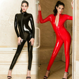 5705ba08f5a S-XL Faux Leather PU Catsuit Black Red Long Sleeve Bodycon Jumpsuit Sexy  Clubwear Stretchable Bodysuit For Women Plus Siz