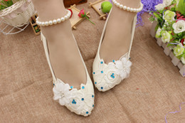 rhinestone pumps for wedding NZ - White Beadeds Wedding Shoes Woman Pumps Flower Lace Cute Spool Blue Rhinestones Bridal Shoes Spring 2018 Ladies Shoes For Party