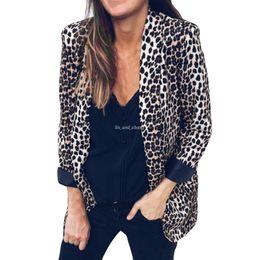 $enCountryForm.capitalKeyWord NZ - 2018 Womens Leopard Print Suit Autumn Winter Long Sleeve Coat Fashion womens ladies Suits moletom feminino