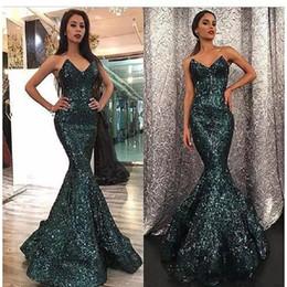 dubai fashion dresses 2019 - Dark Green Sequins Prom Dresses 2018 Mermaid Fashion Curved Sweetheart Neck Hunter Color Sweep Train Dubai Prom Gowns ab