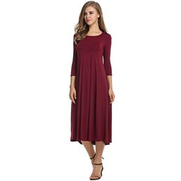 a0769d39e4 Autumn Elegant Women Dress Female Womens Holiday Party Ladies Casual 3 4  Sleeve Big Hem Dress Plus Size Vestidos