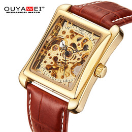 Wholesale OUYAWEI Mechanical Watch Men brand Wristwatch Leather Strap Self Wind Gold Skeleton Watch For Case Rectangle Sport Montre Homme