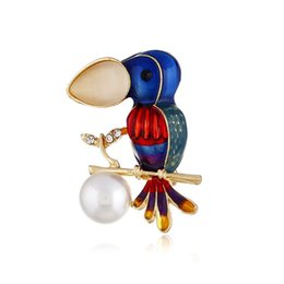 Red Indian Oil NZ - New European and American fashion color drop oil pin alloy inlaid pearl bird wild brooch accessories