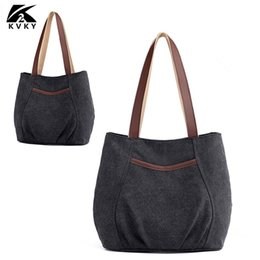 8789e0258f4a KVKY Casual Vintage Canvas Women Shoulder Bag Fashion Female HandBags  Crossbody Bag For Woman Hand Totes Bolsa Feminina