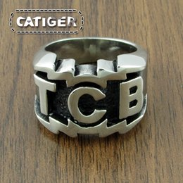 316l Ring Mix NZ - Drop Shipping TCB Elvis Presley Biker Ring 316L Stainless Steel Jewelry Punk Silver Gold Carved Letters Motor Biker Men Ring Wholesale R277