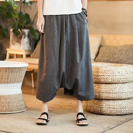 Mens Male Summer Casual Wild-Leg Pants 2018 Baggy Loose Cotton Linen Harem  Trousers Flare Pants Size Plus M-5XL Big Crotch Pants 55e53c600698