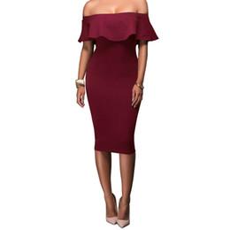 $enCountryForm.capitalKeyWord UK - 2018 Autumn Sexy Tight Slash Neck Women Dress Slim Strapless Ruffled Solid Dress Woman High-end Banquet Costume Clothing