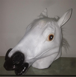 White Scary Halloween Costumes Canada - 2018 New Mask Horse Head Mask Creepy Fur Mane Latex Realistic Crazy Rubber Super Creepy Party Halloween Costume Animal Mask MT001