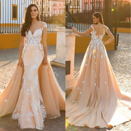 short beach wedding dresses detachable train 2019 - Designer Detachable Train Mermaid Bridal Gown Vintage Applique 2018 Scoop Embroidery Tulle 2 In 1 Wedding Dresses Custom
