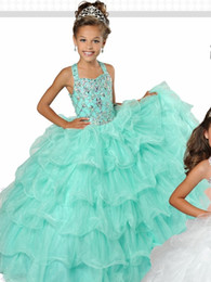 China Mint Green Pretty Girls Pageant Dresses Cheap Ruched Tulle Sequined Beading Long Backless Little Girls Party prom Dresses For Kids Girls cheap pictures prom dresses for kids suppliers