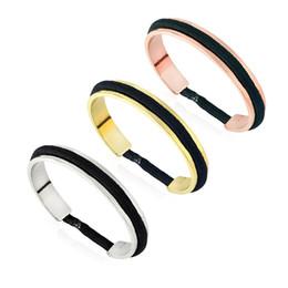 bracelet de cravate de nickle libre dans 3 ton avec la cravate noire de cheveux de mode nouveau manchette ouverte bracelet bracelet bijoux en Solde