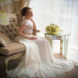 muslim beach wedding dresses 2019 - Latest White Top Lace Chiffon Two Piece Wedding Dress Cap Sleeve Sheer Neck Canada Wedding Dresses For Bride Country Bea