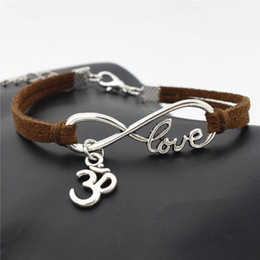 Wholesale AFSHOR Personality Jewelry Hindu Tibetan Silver Infinity Love Buddhist D Ohm Aum Yoga OM Symbol Charms Leather Bracelet for Women Men