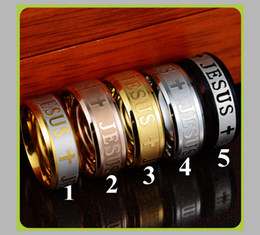 great easter gifts 2019 - Europe Classic Jewelry Large Size 8mm Stainless Steel Jesus Cross Prayer Ring Letter Bible Wedding Bands for Lovers Gift