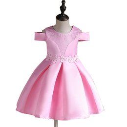 Wholesale Boutique Party Dresses Canada - Boutique 2018 Girl party dress Wedding Noble Lace Christmas dresses Pink Red Off shoulder Bubble Sweep 3 Colors Wholesale 2-12years