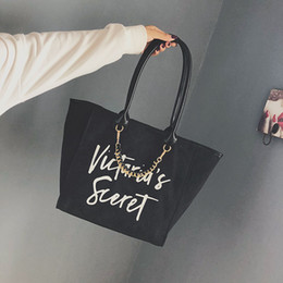 Wholesale New wave ladies hand shoulder shoulder Korean version of the simple wild simple letter tote bag