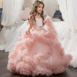 Wholesale 2019 Cute Crew Neck Cap Sleeves Tulle Flower Girls Dresses Ruffles Beaded Sash Princess Floor Length Birthday Party Girls Pageant Dresses