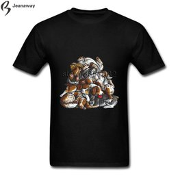 Hombres Tee Top Rock Sleeping Pile of Springer Spaniels Inglés Hombres Camiseta manga corta CrewNeck Cotton Spring Summer Retro Tees