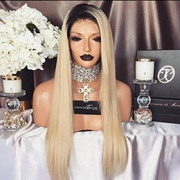 $enCountryForm.capitalKeyWord Australia - Natural Straight Synthetic Lace Front Wig Ombre Black To Blonde 1BT27&613# 1B 0809# Heat Resistant Wigs Christmas Party Wigs for Women