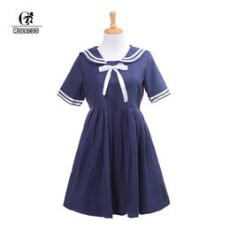 eae7c4bac366 ROLECOS Brand New Japanese Preppy Style Lolita Dress Cosplay Costume Navy  Style Sailor Bow Dress Women White Lolita