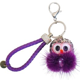 $enCountryForm.capitalKeyWord Australia - New Pom Pom Cute Animal Keychain Owl Keyring Stereo Crystal Jewelry Wallet Car Pendant Men Women Joker Pendant Factory Direct