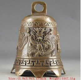 Brass dragon Bell online shopping - Rare Old Prayer Handwork Hammered Chinese Brass Old Dragon Embossment Bell Decor copper tools wedding Brass Bronze