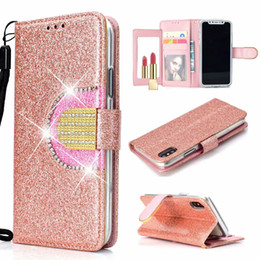 chinese mirrors 2019 - Bling Diamond Mirror Glitter Wallet Leather Case For Iphone XS MAX XR X 10 8 7 6 6S Sparkly Sparkle Shiny Flip Cover PU