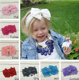 $enCountryForm.capitalKeyWord NZ - Hair bowknot lace Headbands Childrens Accessories Head Bands Infants big bows Headband For Girls Baby Headbands Baby Hair Accessories B234-2