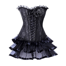 f1ec5f251a Black Floral Lace Up Korsett For Women Sexy Victorian Costume Burlesque  Corset Skirt Dress Gothic Clothing Corsets And Bustiers