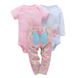 cute girls baby model UK - Bebes Boy Girl Clothes Set ,Kids Baby 2018 Cotton Babyclothing Set Full Sleeve +Pants +Cute Romper Butterfly Model