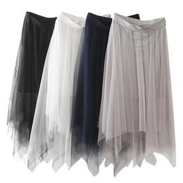 $enCountryForm.capitalKeyWord Canada - Cheap Women Tulle Skirts Fashion Elastic High Waist Mesh Tutu Skirts White Black Gray Long Skirts Midi Skirt CPA1299