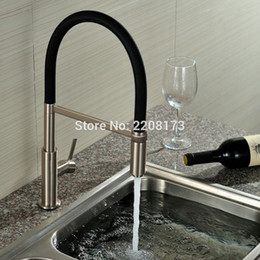 Discount brushed brass kitchen taps - New Arrival Patent Design 360 Swivel Solid Brass Single Handle Mixer Sink Tap Pull Out Down Kitchen Faucet In Brushed Ni