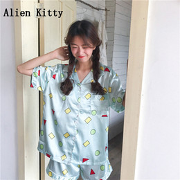 wholesale Summer Female Home Clothing Cute Geometric Print Pajamas Short  Sleeve Sashes Sleepwear Women Nightwear Shorts c6ec0a32d
