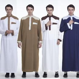 44f72ae960 Islam Men Long Sleeve Abaya Dubai Muslim Arab Patchwork Islamic Clothing  Pakistan Kaftan Robe Musulman Saudi Arabia Homme YM8903