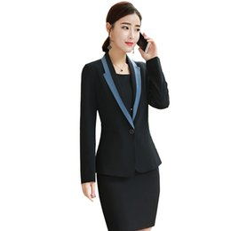 China Womens Blazer + Dress Korean Business Clothes Sets 2018 Autumn New Office Ladies Fashion Formal Casual OL Spring Interview Suit supplier women s business casual clothing suppliers