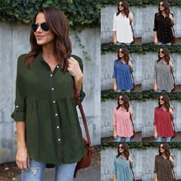 Discount rhinestone collar blouse - Summer women clothes Long t Shirts Chiffon Tops Turn Down Collar Folded Blouse Button Long Sleeve t shirt Casual Blusas