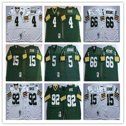Throwbacked Green Bay Packers Jerseys 4 Brett Favre 5 Paul Hornung 15 Bart  Starr 66 Ray Nitschke 92 Reggie White Men Jersey 0a9375738