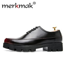 Thick Soled Wedding Shoes NZ - Merkmak Luxury Brand Leather Oxfords Thick Sole Men Dress Shoes Classic Wedding Shoes Man's Footwear Designer Casual Oxfords
