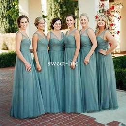 AquA tulle online shopping - 2019 Boho Aqua Long Bridesmaid Dresses A Line V Neck Backless Elegant Maid of Honor Wedding Guest Dress Cheap Prom Party Evening Gown